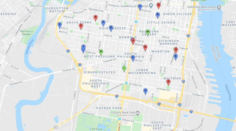 Map showing free food locations in South Philadelphia.